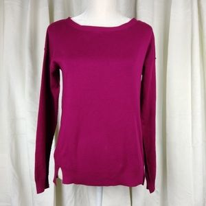 Trina Turk Magenta Pima Cotton Tie Neck Sweater